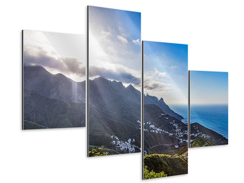 Aluminiumbild 4-teilig modern Der Frühling in den Bergen