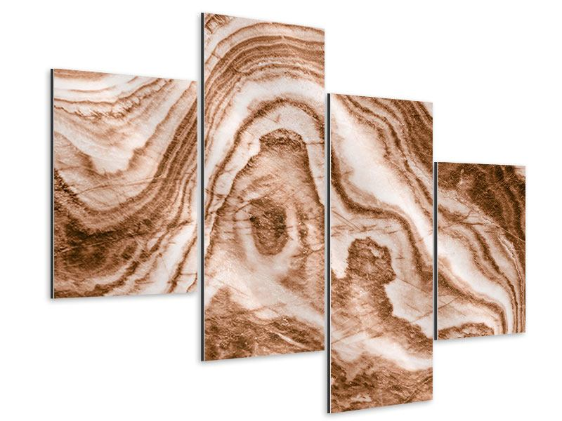 Aluminiumbild 4-teilig modern Marmor in Sepia