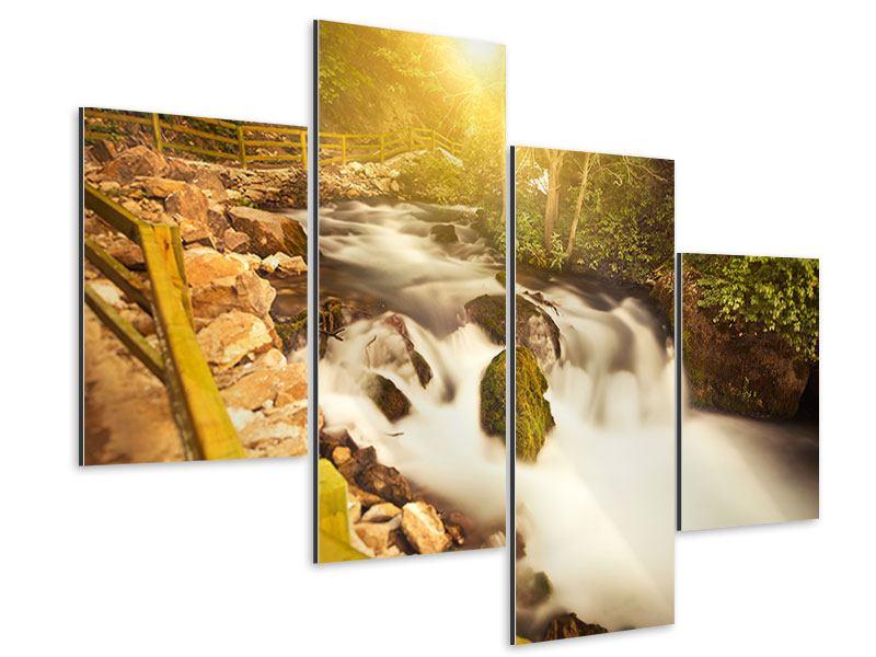 Aluminiumbild 4-teilig modern Sonnenuntergang am Wasserfall