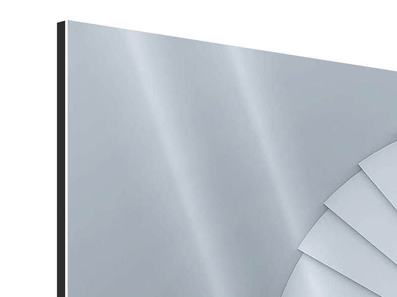 Aluminiumbild 4-teilig modern 3D Wendeltreppe