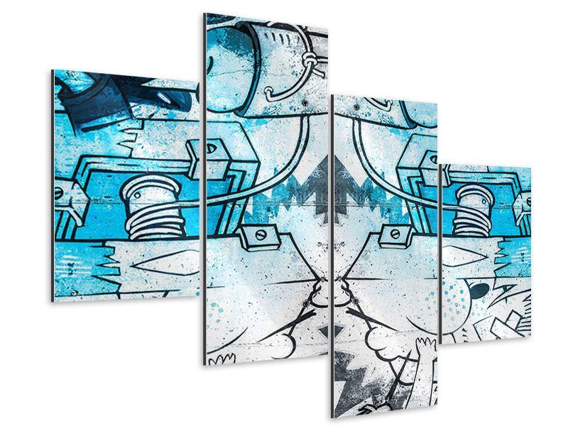 Aluminiumbild 4-teilig modern Graffiti