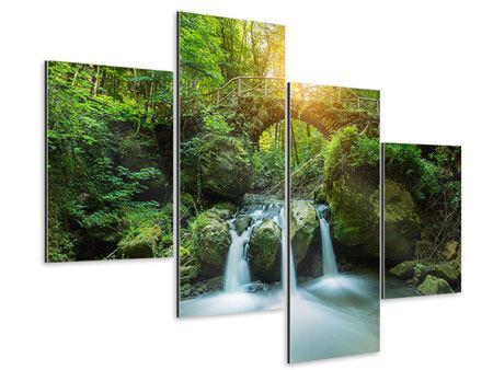 Aluminiumbild 4-teilig modern Wasserspiegelungen