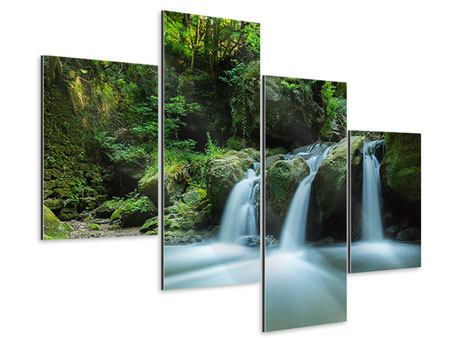 Aluminiumbild 4-teilig modern Fallendes Wasser
