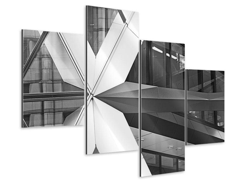 Aluminiumbild 4-teilig modern Teil eines Wolkenkratzers