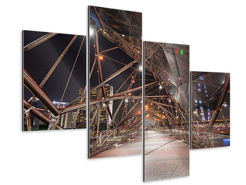 Aluminiumbild 4-teilig modern Brückenlichter