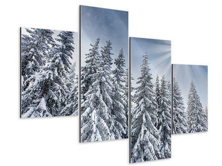 Aluminiumbild 4-teilig modern Wintertannen