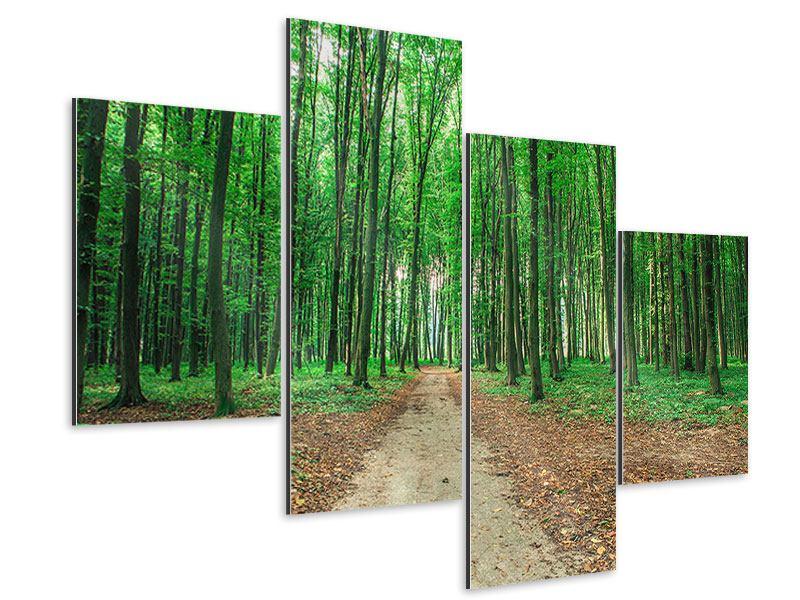 Aluminiumbild 4-teilig modern Tannenwald