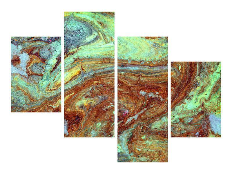 Aluminiumbild 4-teilig modern Marmor in Grün