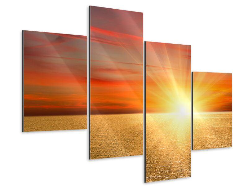 Aluminiumbild 4-teilig modern Der Sonnenuntergang