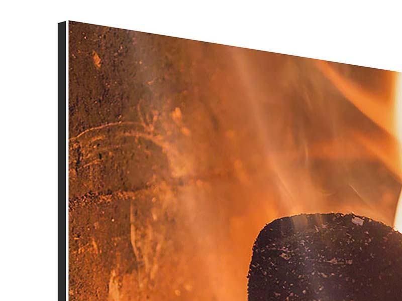 Aluminiumbild 4-teilig modern Kaminfeuer