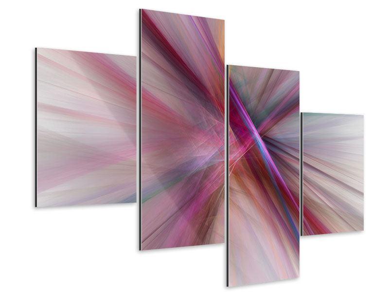 Aluminiumbild 4-teilig modern Abstraktes Lichterleuchten