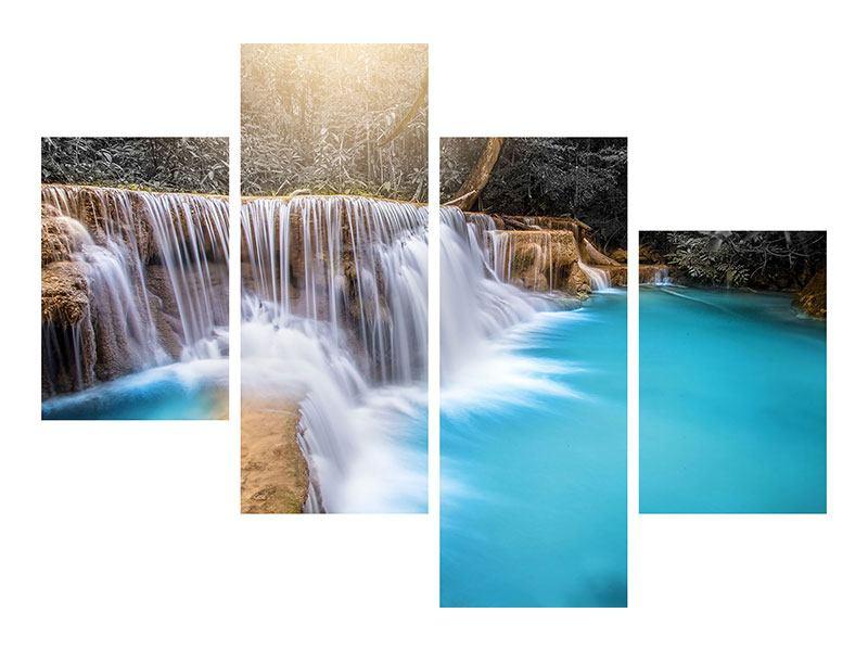 Aluminiumbild 4-teilig modern Glücklicher Wasserfall
