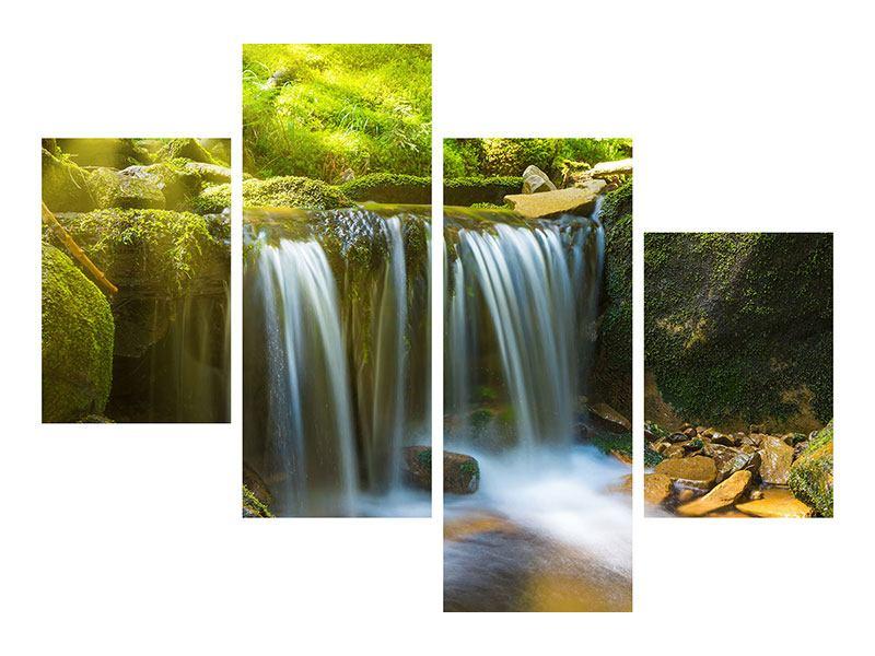 Aluminiumbild 4-teilig modern Schönheit des fallenden Wassers