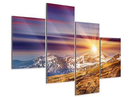 Aluminiumbild 4-teilig modern Majestätischer Sonnuntergang am Berggipfel