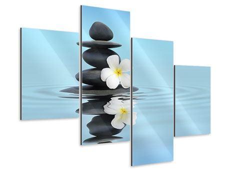Aluminiumbild 4-teilig modern Zen Steine