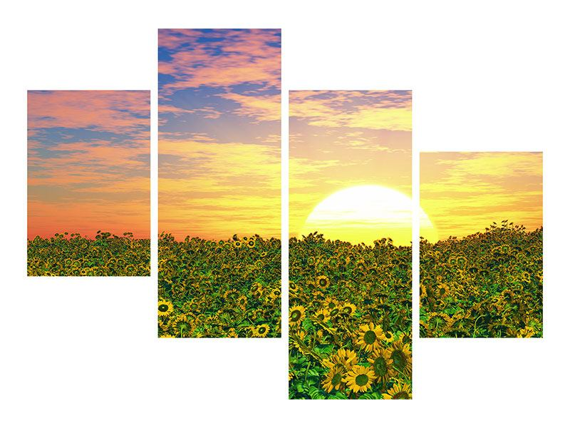 Aluminiumbild 4-teilig modern Blumenpanorama bei Sonnenuntergang
