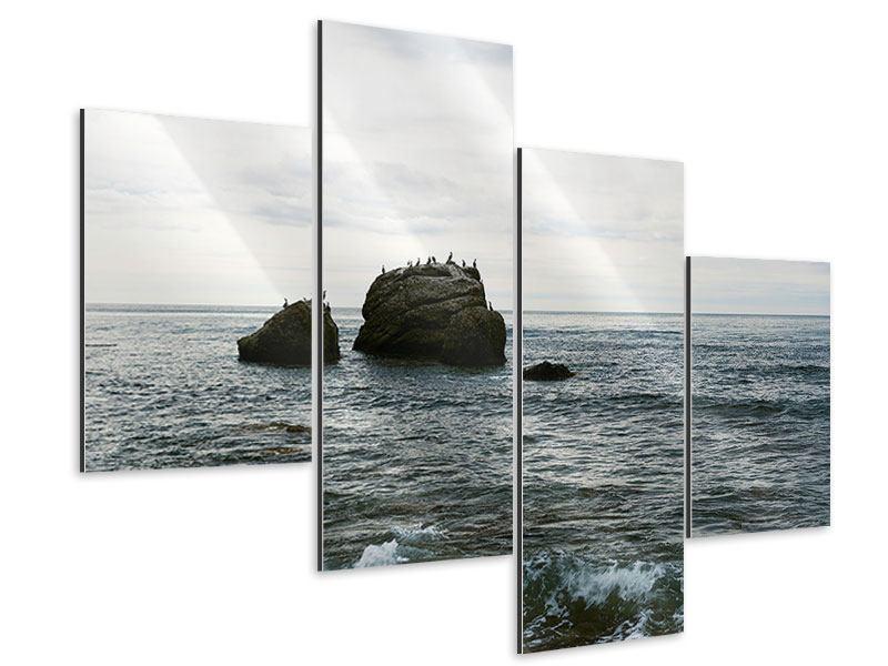 Aluminiumbild 4-teilig modern Leise Wellen