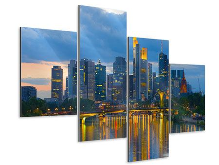 Aluminiumbild 4-teilig modern Skyline Frankfurt am Main