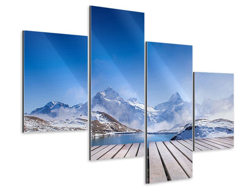 Aluminiumbild 4-teilig modern Sonnenterrasse am Schweizer Bergsee