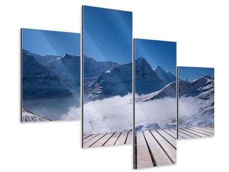 Aluminiumbild 4-teilig modern Sonnenterrasse in den Schweizer Alpen