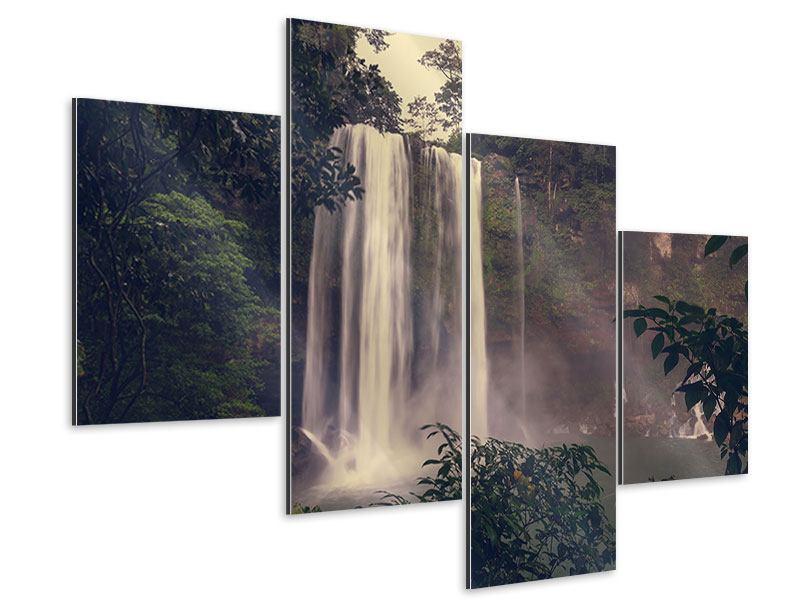 Aluminiumbild 4-teilig modern Wasserfall in Mexiko