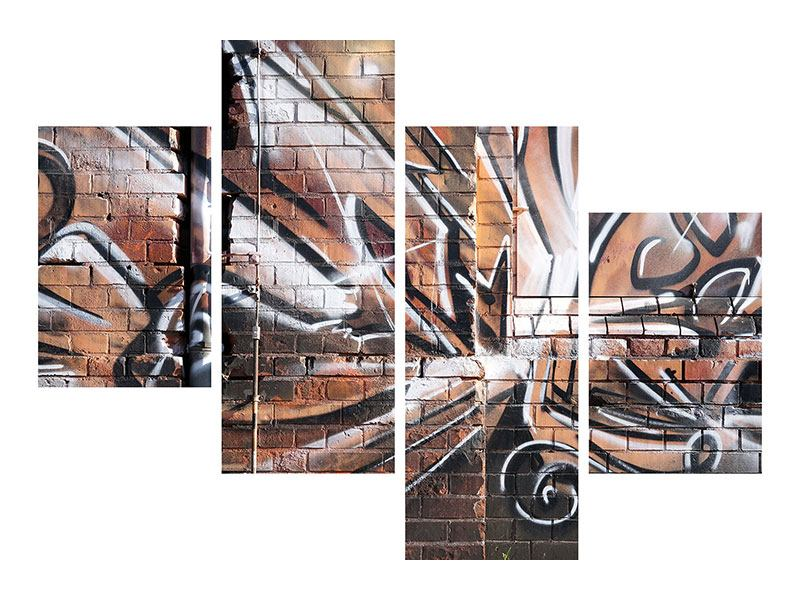 Aluminiumbild 4-teilig modern Graffiti Mauer