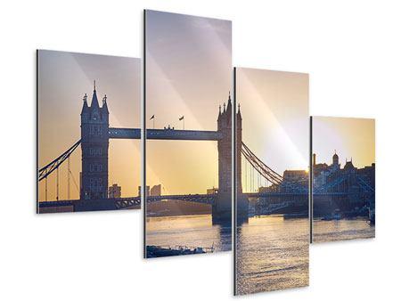 Aluminiumbild 4-teilig modern Tower Bridge bei Sonnenuntergang