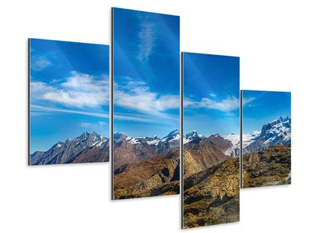 Aluminiumbild 4-teilig modern Schweizer Alpen im Frühling