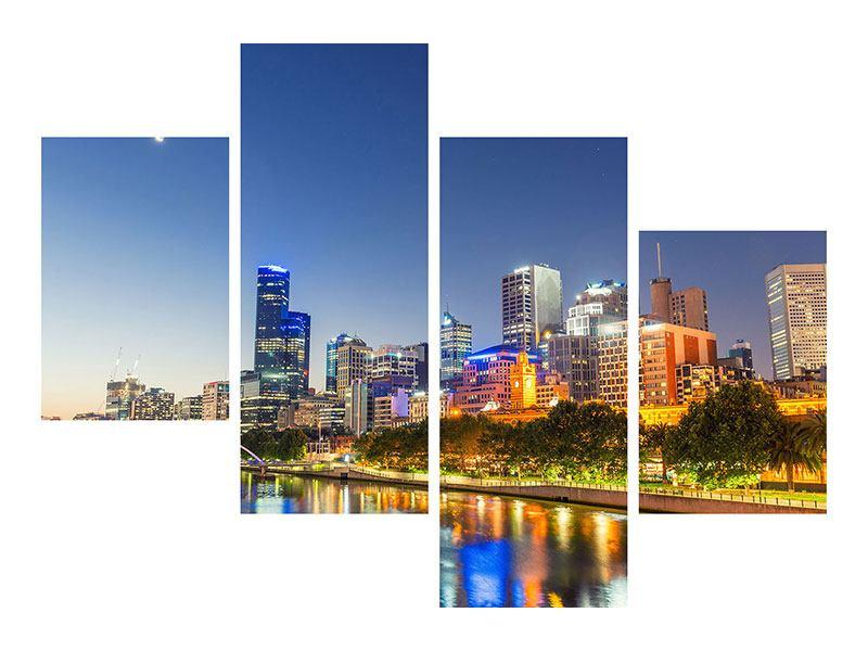Aluminiumbild 4-teilig modern Skyline Sydney in der Abenddämmerung