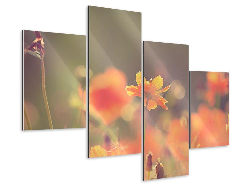 Aluminiumbild 4-teilig modern Blütenpracht
