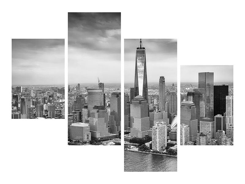 Aluminiumbild 4-teilig modern Skyline Schwarzweissfotografie New York