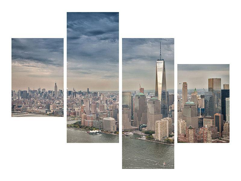 Aluminiumbild 4-teilig modern Skyline Manhattan