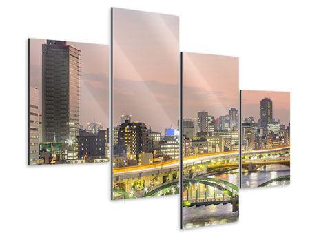 Aluminiumbild 4-teilig modern Skyline Das Lichtermeer von Tokio