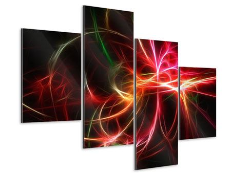 Aluminiumbild 4-teilig modern Fraktales Lichtspektakel