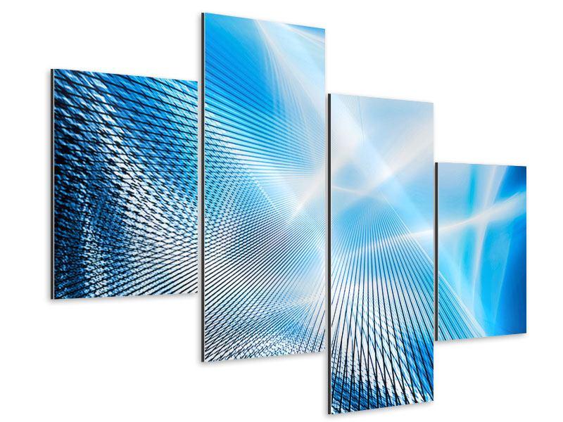 Aluminiumbild 4-teilig modern Laser