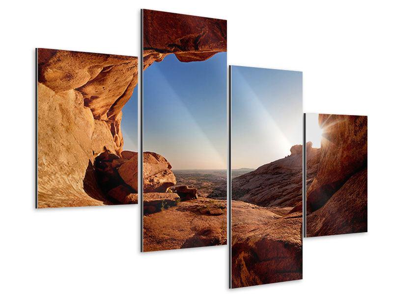 Aluminiumbild 4-teilig modern Sonnenuntergang vor der Höhle