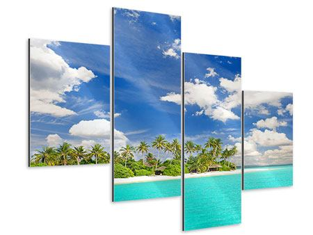 Aluminiumbild 4-teilig modern Meine Insel