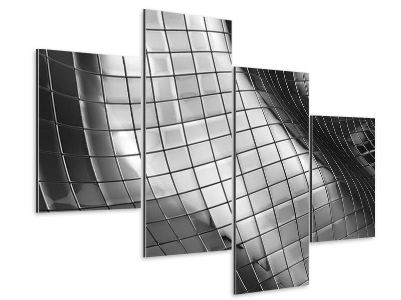Aluminiumbild 4-teilig modern Abstrakter Stahl
