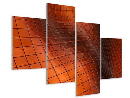 Aluminiumbild 4-teilig modern 3D-Kacheln