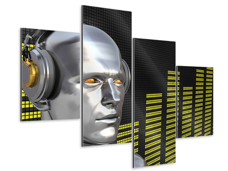 Aluminiumbild 4-teilig modern Futuristischer DJ