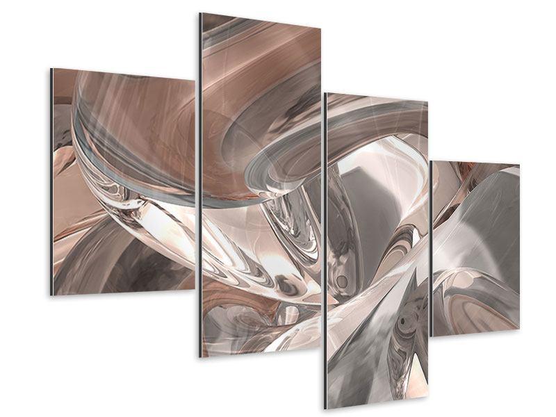 Aluminiumbild 4-teilig modern Abstraktes Glasfliessen