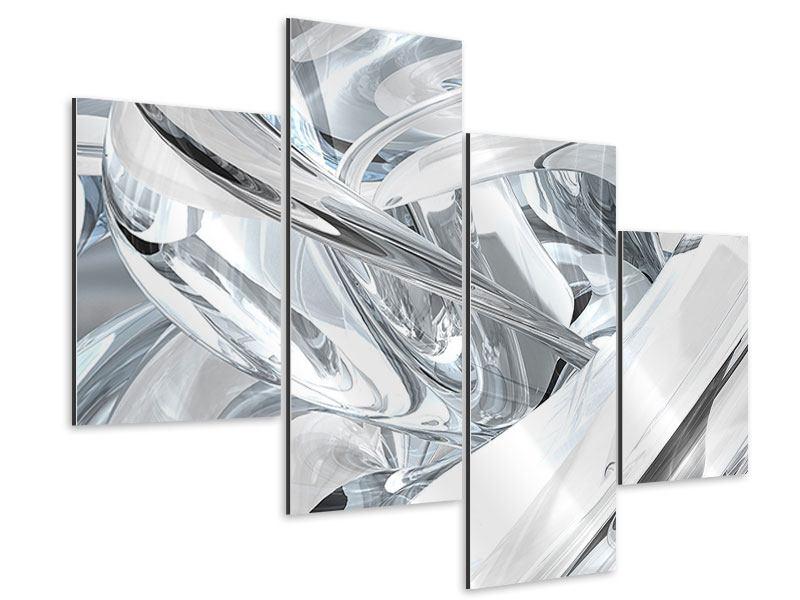 Aluminiumbild 4-teilig modern Abstrakte Glasbahnen