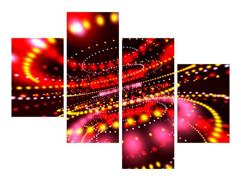 Aluminiumbild 4-teilig modern Abstraktes Lichtspiel