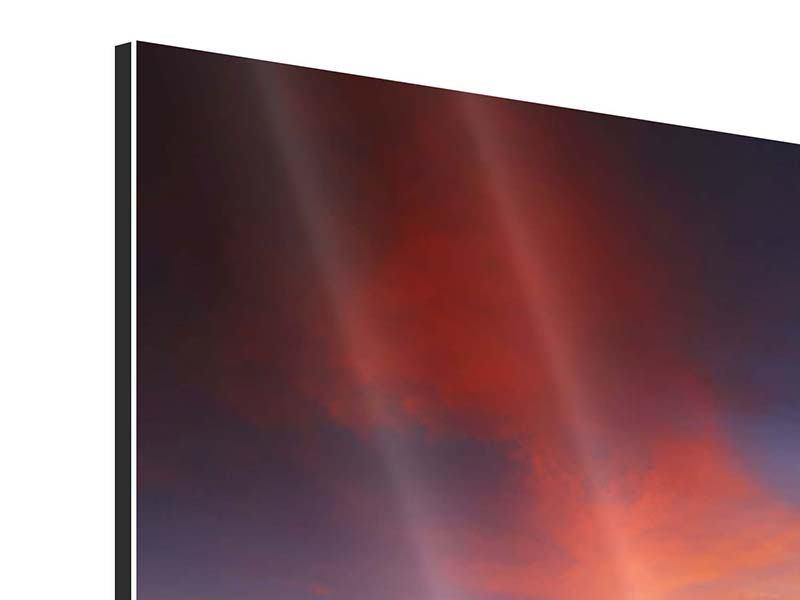 Aluminiumbild 4-teilig modern Ein Sonnenuntergang am Meer