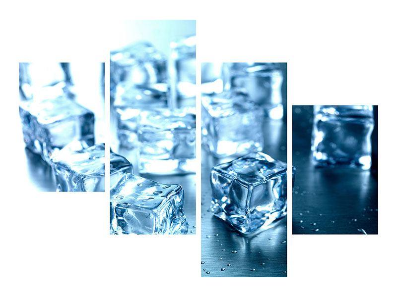 Aluminiumbild 4-teilig modern Viele Eiswürfel
