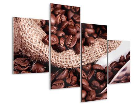 Aluminiumbild 4-teilig modern XXL Kaffeebohnen