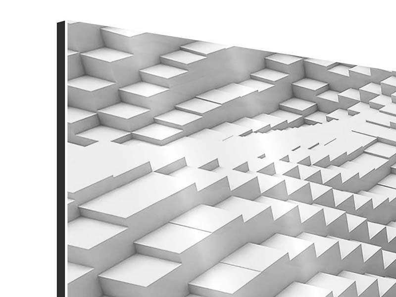 Aluminiumbild 4-teilig modern 3D-Elemente