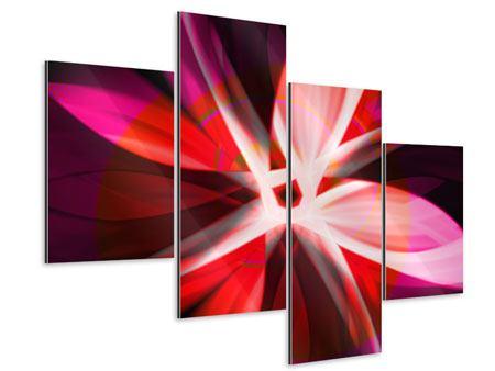 Aluminiumbild 4-teilig modern Abstrakt Flower Power