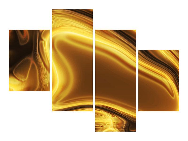 Aluminiumbild 4-teilig modern Abstrakt Flüssiges Gold