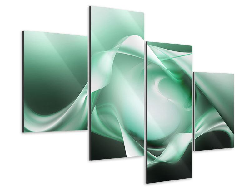 Aluminiumbild 4-teilig modern Abstrakt Tuchfühlung